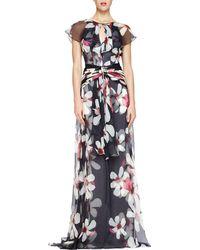 Carolina Herrera Magnolia-print Flutter-sleeve Gown - Lyst