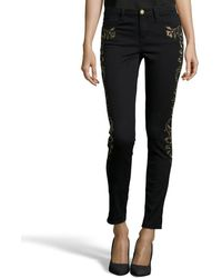 Marchesa Voyage Black And Gold Embroidered Stretch Cotton Skinny Jeans - Lyst