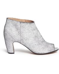 Maison Margiela Open Toe Brushed Leather Booties - Lyst