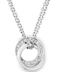 Michael Kors Silvertone Crystal Pavè Interlocked Ring Pendant Necklace - Lyst