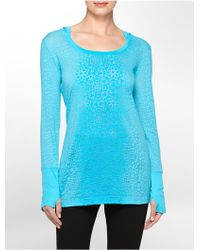 Calvin Klein White Label Performance Ombre Abstract Textured Long Sleeve Hooded Shirt blue - Lyst