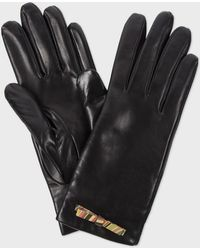 Paul Smith Black Leather 'Swirl' Print Bow Gloves - Lyst
