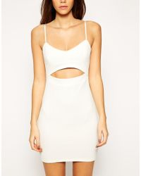 Asos Exclusive Textured Body-Conscious Dress With Cut Out - Lyst