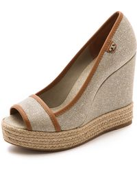 Tory Burch Majorca Logo Wedges - Naturalroyal Tan - Lyst