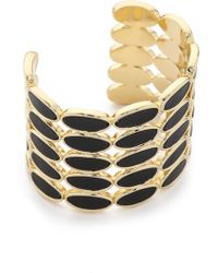 House of Harlow 1960 - Del Sol Leather Cuff Bracelet - Black/gold - Lyst