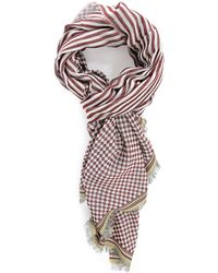 Paul Smith Red Check And Stripe Scarf - Lyst