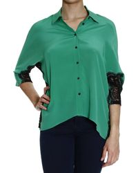 Patrizia Pepe Shirt Wide Crepes De Chine With Details Lace - Lyst
