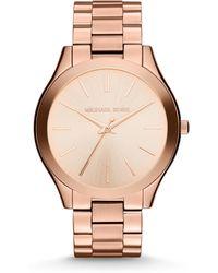 Michael Kors | Slim Runway Rose Goldtone Stainless Steel Bracelet Watch | Lyst