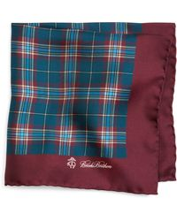 Brooks Brothers Plaid Print Pocket Square - Lyst