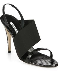Manolo Blahnik Asymmetrical-Detail Snakeskin Sandals - Lyst
