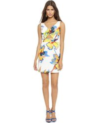 Milly Pop Art Floral Cutout Dress - White - Lyst