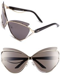 Dior Women'S 'Audacieuse 1' 72Mm Butterfly Sunglasses - Gold - Lyst