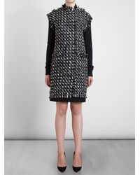 Lanvin Tweed Front Knit Coat - Lyst