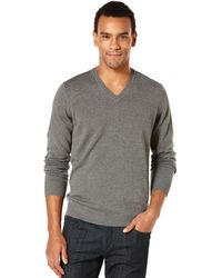 Perry Ellis Solid V-Neck Sweater - Lyst