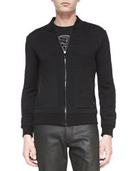 Versace Quilted Knit Zip Front Jacket - Lyst