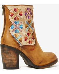 Nasty Gal Freebird Hendrix Leather Tapestry Boot - Lyst
