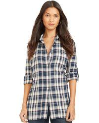 Lauren by Ralph Lauren Petite Cotton Plaid Shirt - Lyst