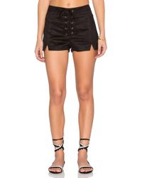 Lucca Couture - Faux Suede Lace Up Notched Shorts - Lyst