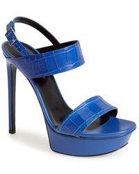 Saint Laurent 'Bianca' Leather Platform Sandal - Lyst