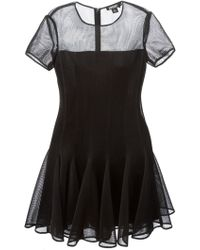 DKNY Sheer Top Flared Dress - Lyst