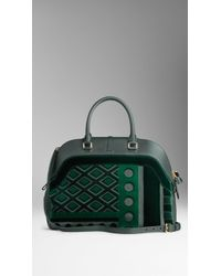 Burberry Large Velvet and Leather Bowling Bag - Lyst