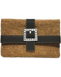 Michael Kors Janey Large Crystal-embellished Raffia Clutch - Lyst