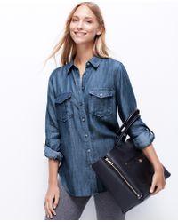 Ann Taylor Chambray Pocket Shirt - Lyst