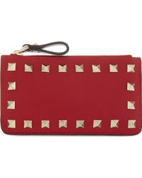 Valentino Studded Zip Card Holder Red - Lyst