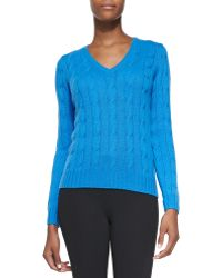 Ralph Lauren Black Label Cashmere Cable-Knit Sweater - Lyst
