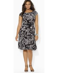 Ralph Lauren Lauren Plus Cap Sleeve Print Dress - Lyst