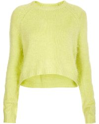 Topshop Knitted Fluffy Crop Jumper - Lyst