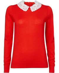 Boutique By Jaeger Broderie Collar Sweater - Lyst
