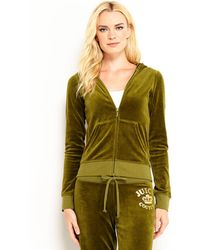 Juicy Couture Slim Fit Velour Rhinestone Logo Hoodie - Lyst