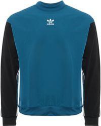 5fc573eb0 adidas Originals - Authentic Stripe Crew Neck Sweatshirt - Lyst