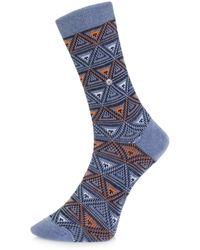 Burlington - Burlington Fashion Blue Triangle Socks 20521 6662 - Lyst