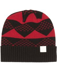 White Mountaineering - Triangle Jacquard Knitted Beanie - Lyst