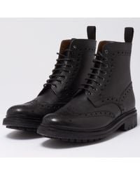 Grenson - Fred Black Brogue Boot 5068-450C - Lyst