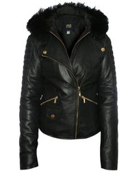 Class Roberto Cavalli - Black Leather Fur Trim Hooded Biker Jacket - Lyst