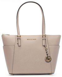 cea4fc49db7dae Michael Kors - Jet Set Pocket Soft Pink Leather Top Zip Tote Bag - Lyst