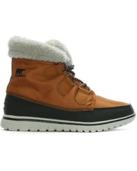Sorel - Cozy Carnival Caramel & Black Lace Up Sporty Fleece Lined Boots - Lyst