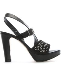 Donna Più - Black Leather Perforated Diamante Embellished Sandals - Lyst
