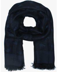 y Logo Armani algodón tejida Lyst de azul en mezcla bufanda negra Emporio 1vCqw5