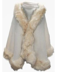 Daniel - Cream Faux Fur Trim Knitted Poncho - Lyst