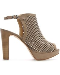 Donna Più - Taupe Suede Perforated Diamante Platform Sandals - Lyst