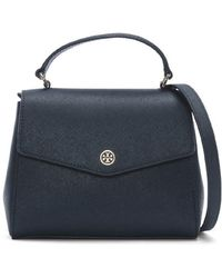 Tory Burch - Small Robinson Royal Navy Satchel Bag - Lyst