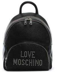 Love Moschino - Bavarian Black Studded Logo Backpack - Lyst