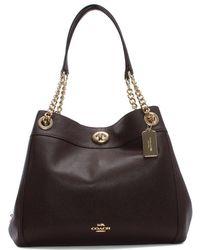 COACH - Turnlock Edie Oxblood Polished Pebbled Leather Shoulder Bag - Lyst