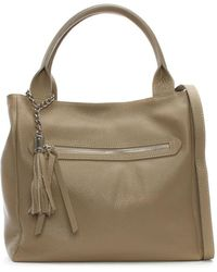 Daniel - Marquee Large Taupe Leather Tassel Shoulder Bag - Lyst