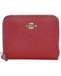 COACH - Small Red Leather Zip Around Wallet - Lyst