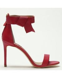 Daniel Footwear - Red Leather Bow Ankle Strap Sandals - Lyst